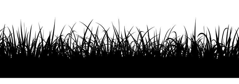 Черный силуэт травы, безшовная иллюстрация Граница луга иллюстрация вектора