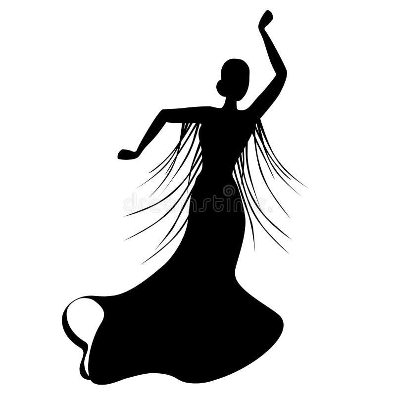 Черный силуэт женского танцора фламенко иллюстрация вектора