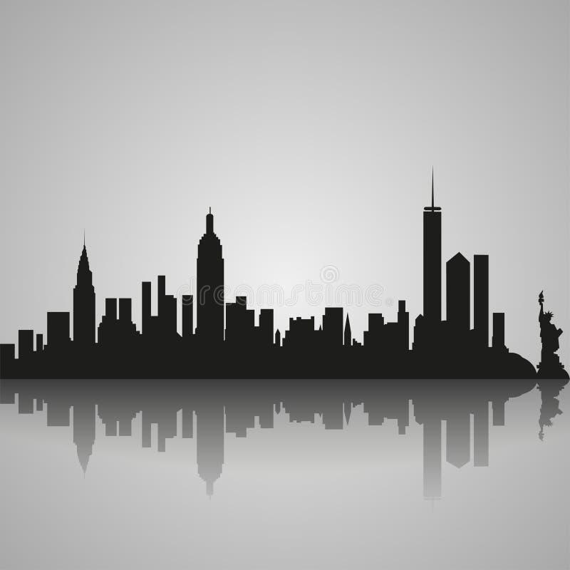Черный силуэт Нью-Йорка с отражением также вектор иллюстрации притяжки corel иллюстрация вектора