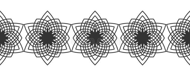 Черный силуэт снежинок Шнурок, круглый орнамент и декоративная граница иллюстрация иллюстрация вектора