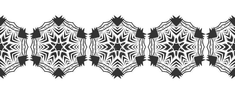 Черный силуэт снежинок Шнурок, круглый орнамент и декоративная граница иллюстрация бесплатная иллюстрация