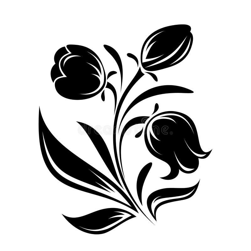 Черный силуэт цветков. Иллюстрация вектора. иллюстрация вектора