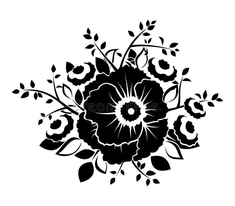 Черный силуэт цветков. иллюстрация штока