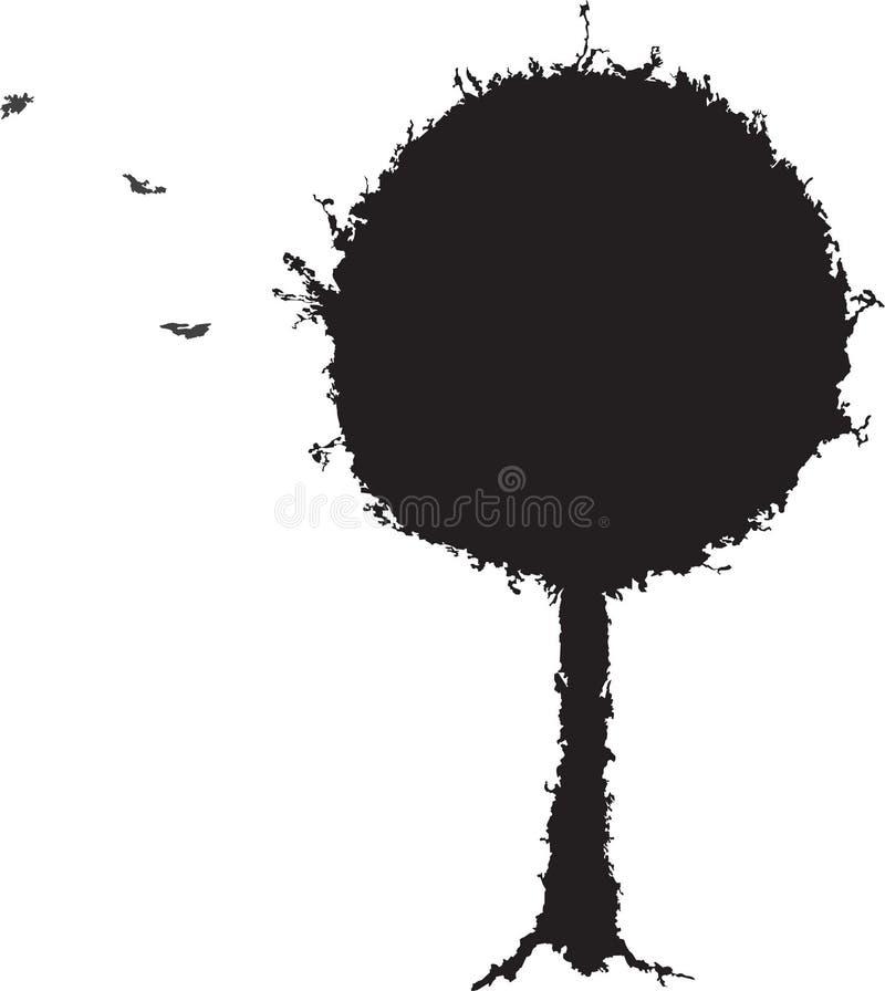 Черный силуэт grunge дерева иллюстрация вектора