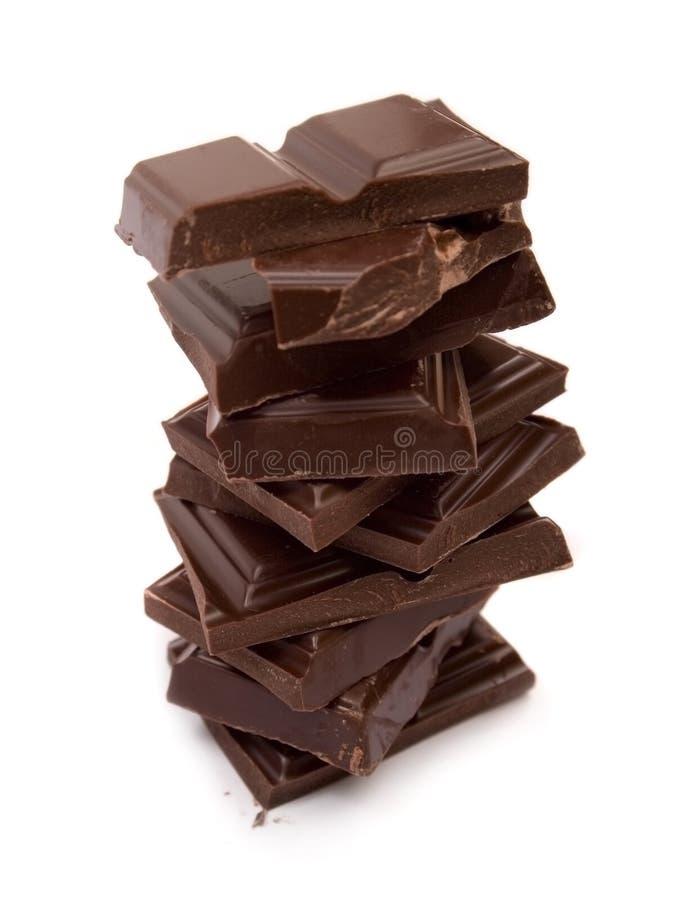 черный сломанный шоколад стоковые изображения rf