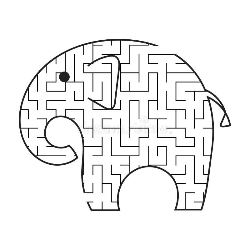 Черный слон мультфильма лабиринта Ягнит рабочие листы Страница деятельности Головоломка игры для детей животное одичалое Головоло иллюстрация штока