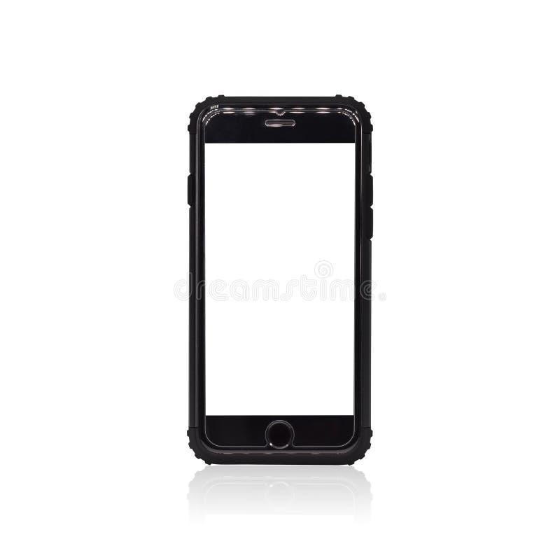 Черный смартфон изолированный на белой предпосылке Рамка мобильного телефона для вашего дизайна Пути клиппирования или отрезать в иллюстрация штока