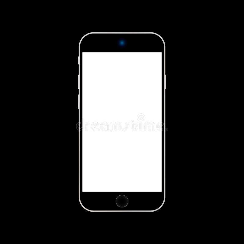 Черный смартфон Iphone с белым экраном на черном векторе eps10 предпосылки  бесплатная иллюстрация