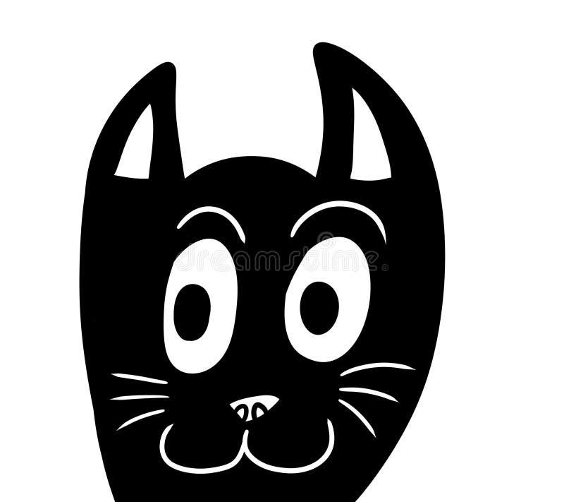 Черный стилизованный прелестный Doodle кота иллюстрация штока