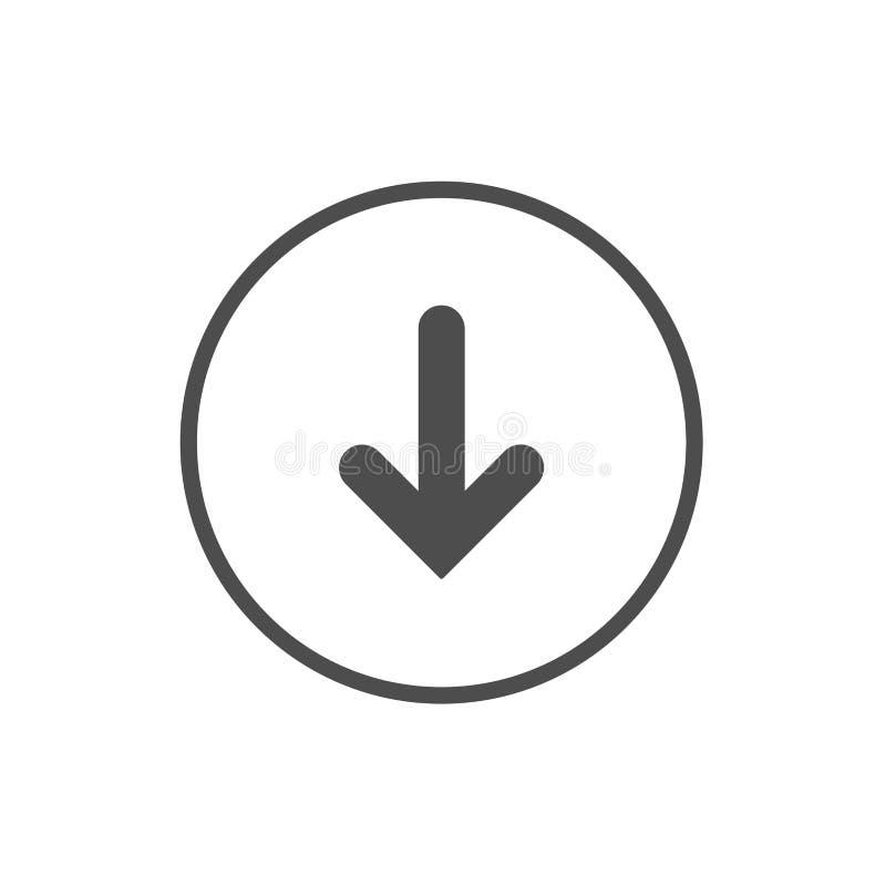Черный стрелки значок вниз иллюстрация вектора