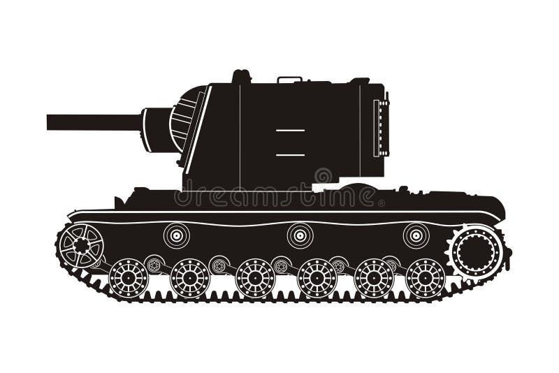 Черный танк KV-2 иллюстрация вектора