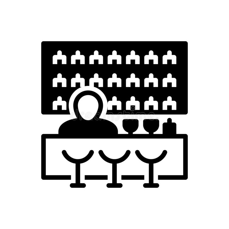 Черный твердый значок для Адвокатуры, поединка и паба иллюстрация вектора