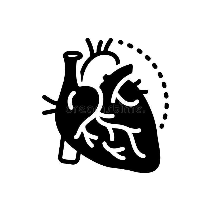 Черный твердый значок для артерий, вен и артерии иллюстрация штока