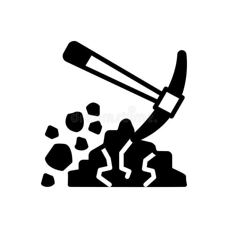 Черный твердый значок для выкапывать, лопаткоулавливателя и раскопок бесплатная иллюстрация
