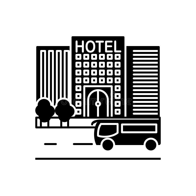 Черный твердый значок для гостиницы, путешествующ и проверить внутри иллюстрация вектора