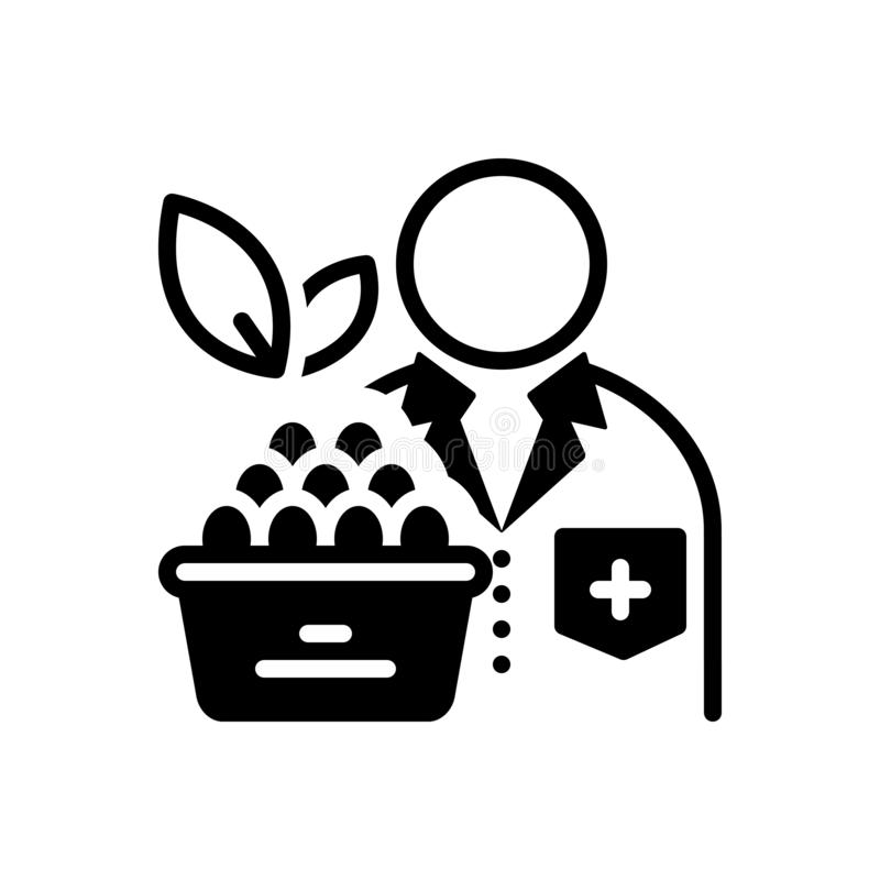 Черный твердый значок для диетолога, диетврача и диеты иллюстрация вектора