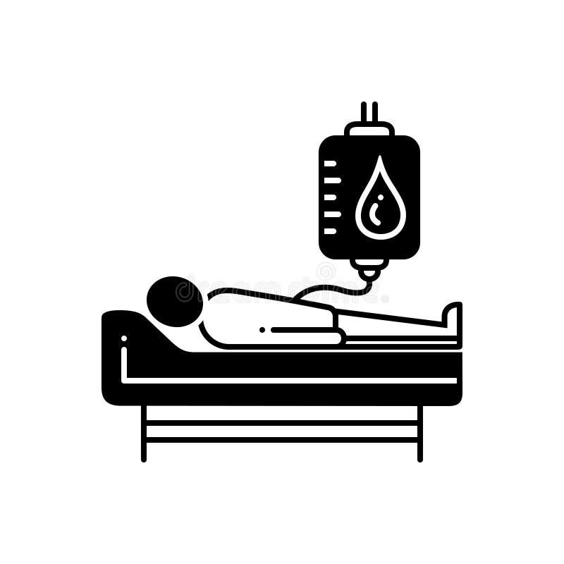 Черный твердый значок для донорства крови, дарителя и сумки иллюстрация вектора