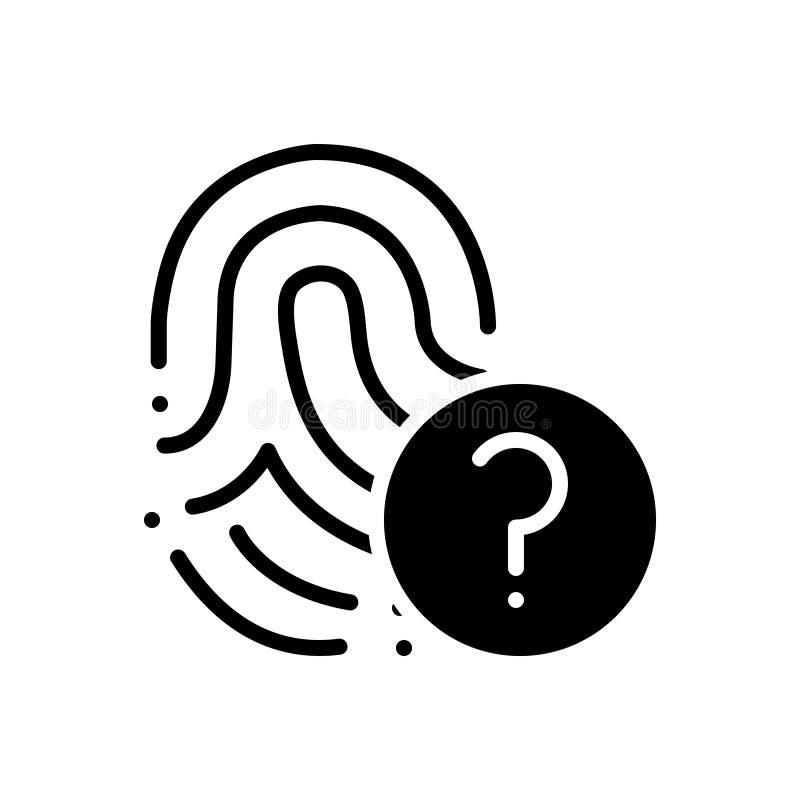 Черный твердый значок для инструкции, направлений и биометрии иллюстрация штока