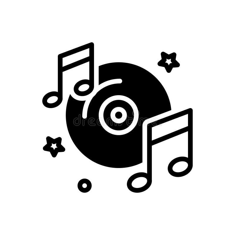 Черный твердый значок для музикально, концерт и слушать иллюстрация штока