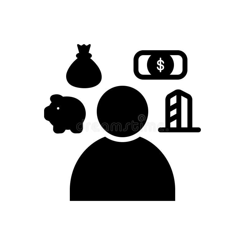 Черный твердый значок для пенсионного плана, финансов и роста иллюстрация вектора