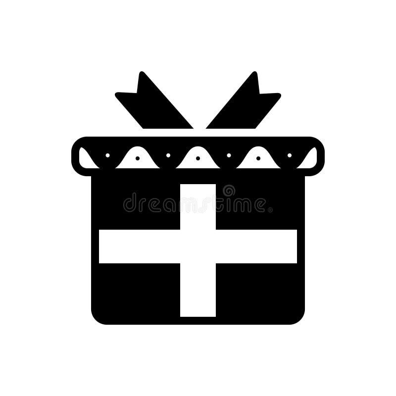 Черный твердый значок для подарочной коробки, настоящего момента и сюрприза иллюстрация штока