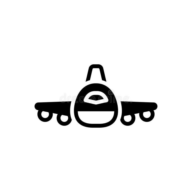 Черный твердый значок для полета, плана и аэроплана бесплатная иллюстрация