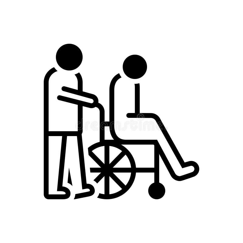 Черный твердый значок для попечителей, смотрителя и инвалидности иллюстрация штока