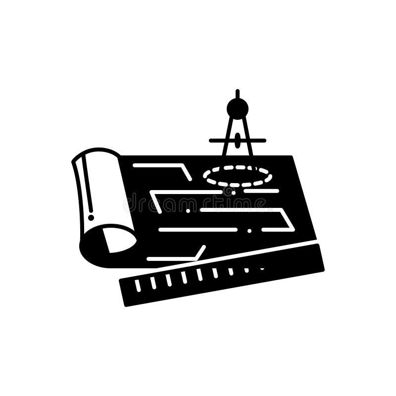 Черный твердый значок для светокопий, конструкции и архитектуры иллюстрация штока