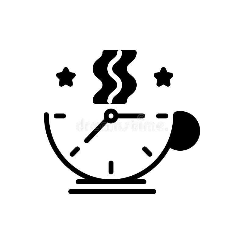 Черный твердый значок для Breaktime, ослаблять и кофе бесплатная иллюстрация