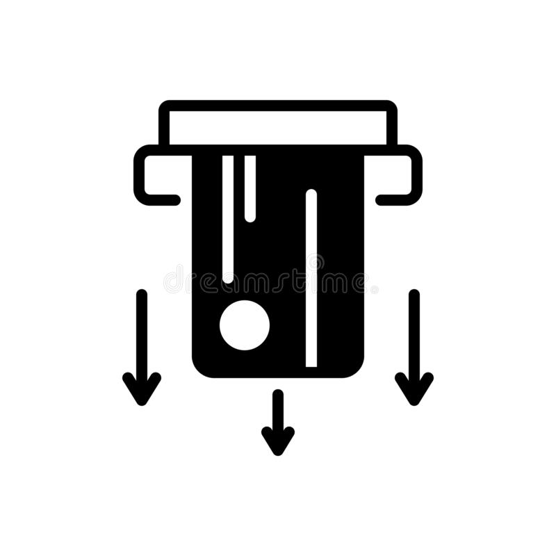 Черный твердый значок для Cardswipe, оплачивать и технологии иллюстрация вектора
