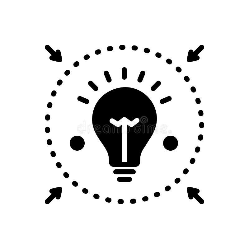 Черный твердый значок для Denote, просвещает и сообщает иллюстрация штока