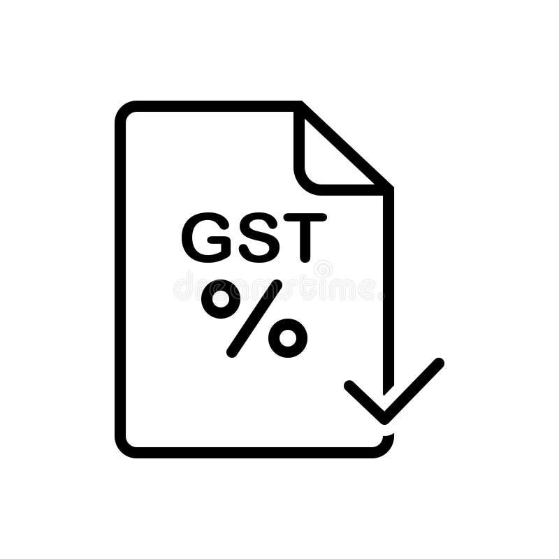 Черный твердый значок для Gst, оплаченный и спасительный иллюстрация штока