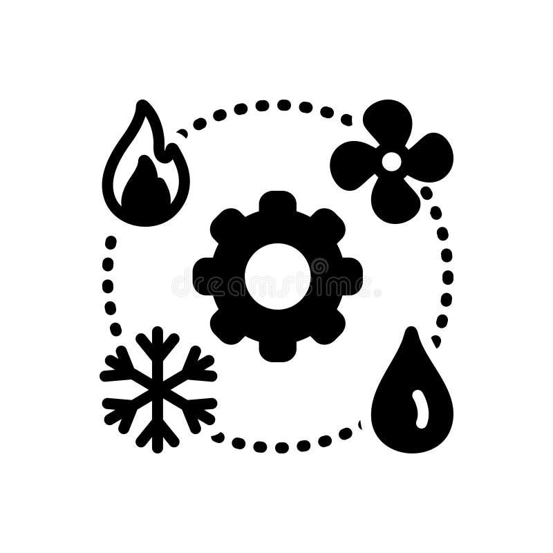 Черный твердый значок для Hvac, техника и топления иллюстрация штока