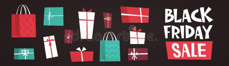 Черный текст продажи пятницы над концепцией скидки праздника различной предпосылки подарочных коробок большой бесплатная иллюстрация