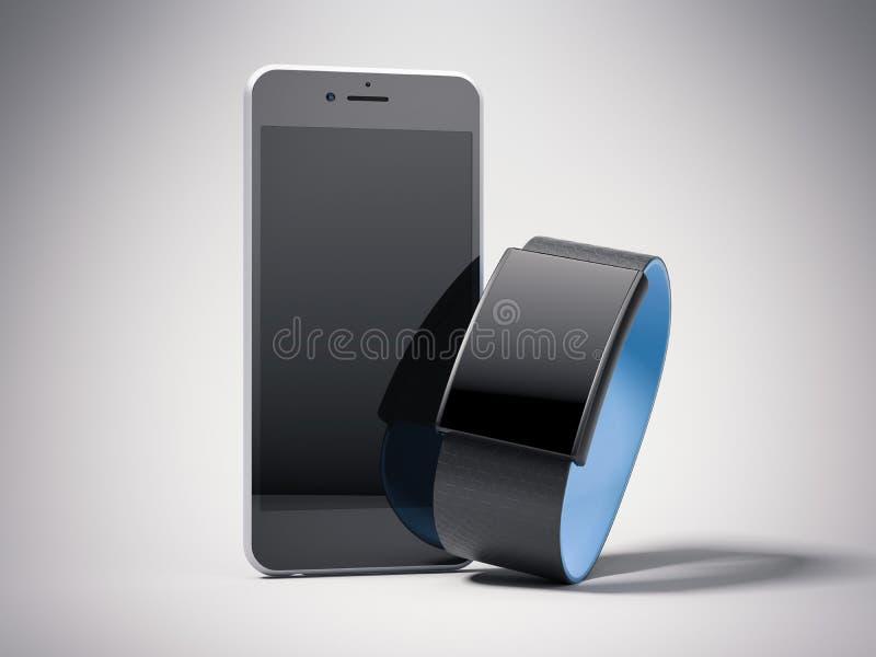Черный телефон и умный вахта перевод 3d иллюстрация штока