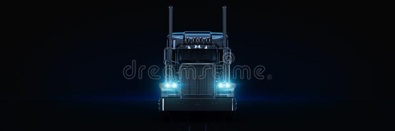 Черный тяжелый грузовик иллюстрация вектора