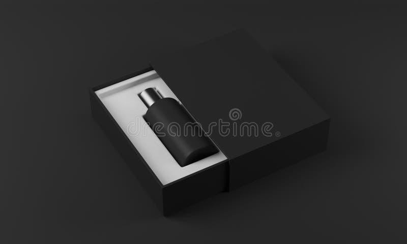 Черный флакон духов в белизне и черном ящике бесплатная иллюстрация
