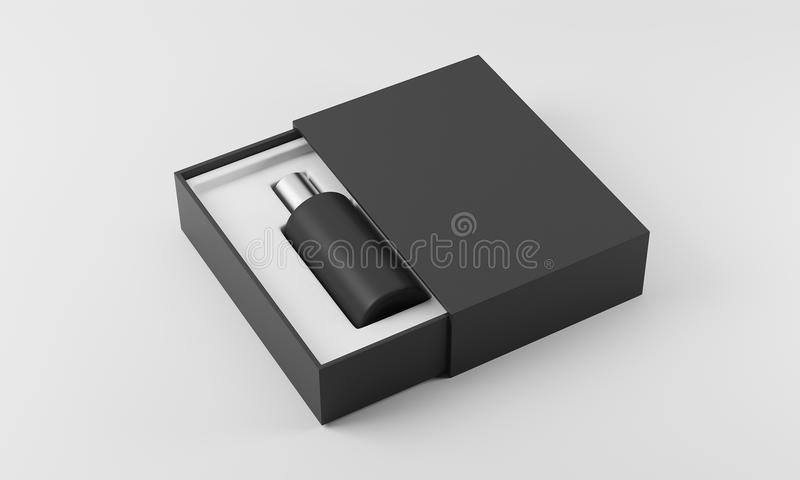 Черный флакон духов в белизне и черном ящике иллюстрация штока