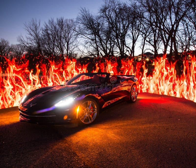 Черный хвостоколовый автомобиля с откидным верхом C7 Корвета стоковые фото
