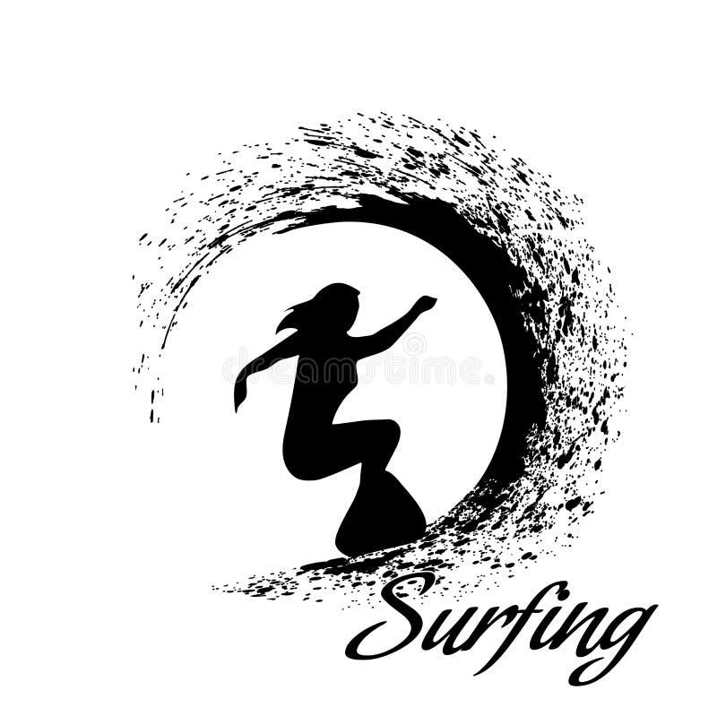 черный цвет silhouettes версии серферов иллюстрация вектора
