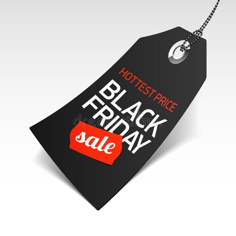 Черный ценник продажи пятницы бесплатная иллюстрация