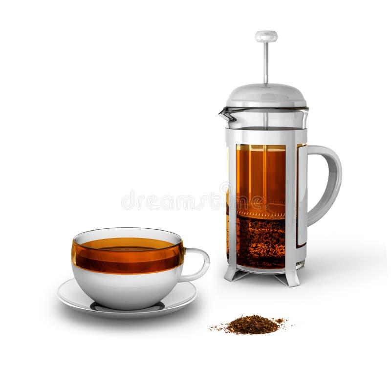 Черный чай с чашкой и прессой француза стоковые изображения rf