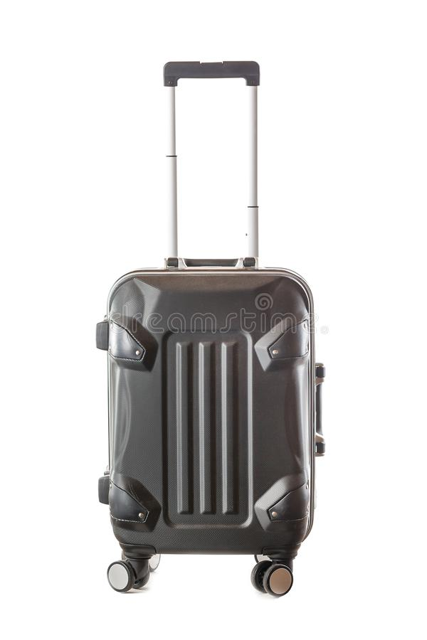 Черный чемодан изолированный на белой предпосылке Перемещение или изолированный чемодан дела стоковые фото