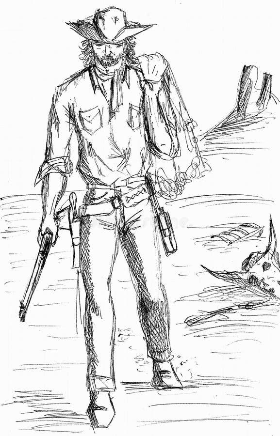 Черный чертеж ручки ковбоя бесплатная иллюстрация