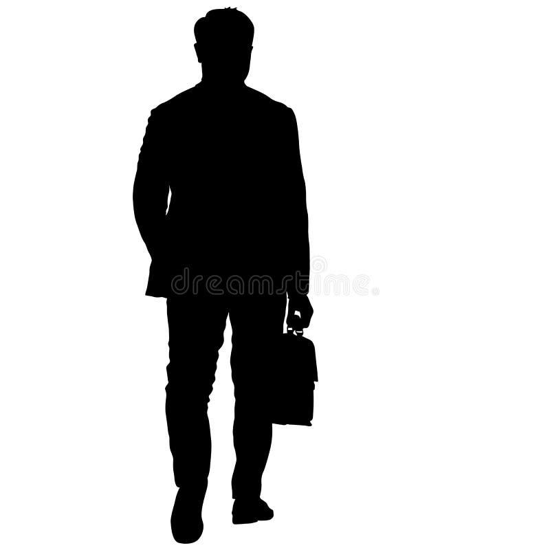 Черный человек силуэтов с портфелем на белой предпосылке также вектор иллюстрации притяжки corel иллюстрация вектора