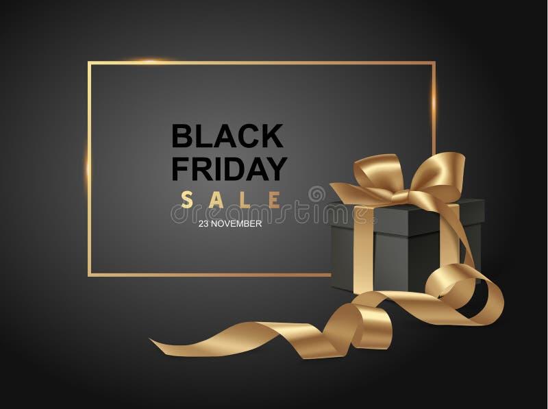 Черный шаблон дизайна продажи пятницы Черная предпосылка с настоящим моментом иллюстрация штока