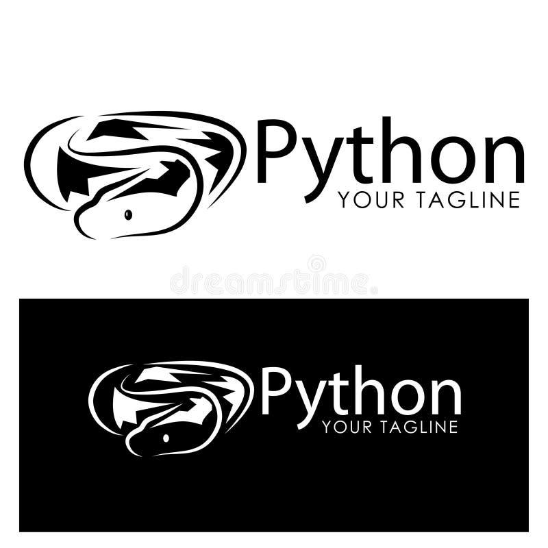 Черный шаблон логотипа питона Черный вензель phyton иллюстрация штока