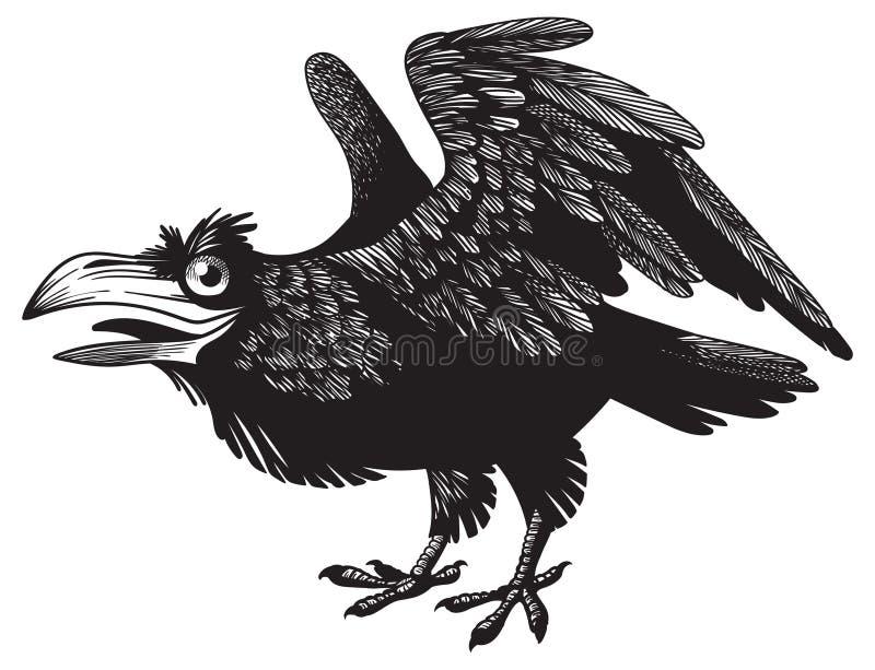 Черный шальной дизайн характера ворона шаржа иллюстрация вектора