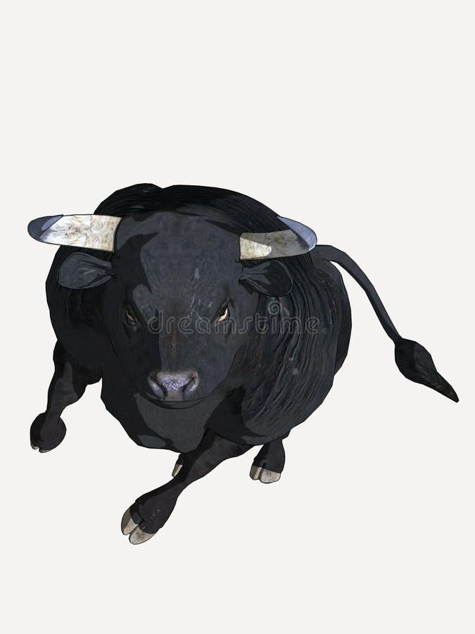 черный шарж быка стоковая фотография rf