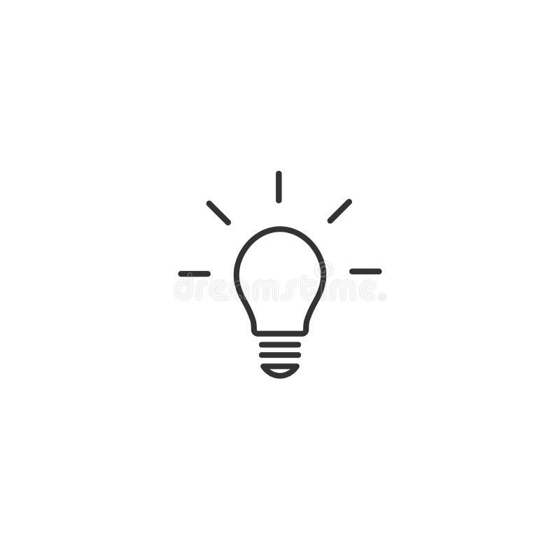 Черный шарик с значком лучей плоским Изолировано на белизне Линия значок воодушевленности идея дела новая иллюстрация штока